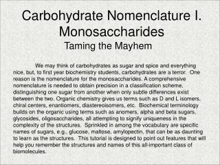 Carbohydrate Nomenclature I. Monosaccharides