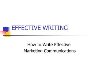 EFFECTIVE WRITING
