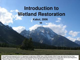 Introduction to  Wetland Restoration