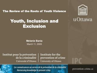 The Review of the Roots of Youth Violence   Youth, Inclusion and Exclusion