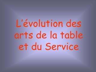 L  volution des arts de la table et du Service