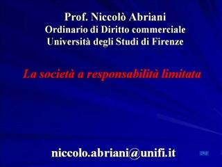 Prof. Niccol  Abriani Ordinario di Diritto commerciale Universit  degli Studi di Firenze