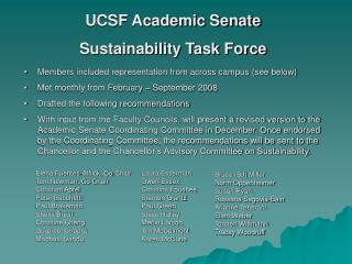 UCSF Academic Senate Sustainability Task Force