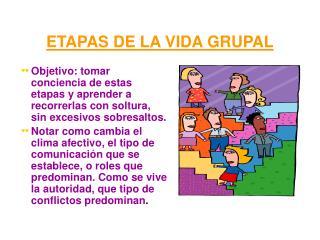 ETAPAS DE LA VIDA GRUPAL