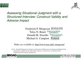 Assessing Situational Judgment with a Structured Interview: Construct Validity and Adverse Impact