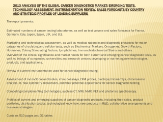 2013 Analysis of the Global Coagulation Testing Market: Emer