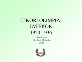 JKORI OLIMPIAI  J T KOK 1920-1936