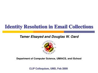 Identity Resolution in Email Collections