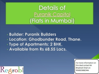 Puranik Capitol offers 2 BHK Flats in Thane from 68.55 Lacs