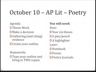 October 10   AP Lit   Poetry