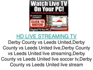 Derby County vs Leeds United LIVE FLC Direct TV Streaming