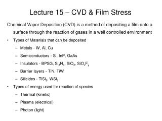 Lecture 15   CVD  Film Stress