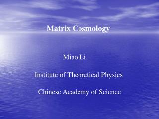 Matrix Cosmology