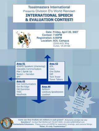 Toastmasters International Presents Division D s World Renown INTERNATIONAL SPEECH   EVALUATION CONTEST