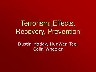 Terrorism: Effects, Recovery, Prevention