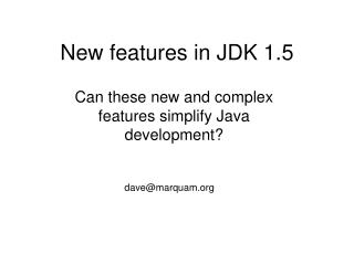 New features in JDK 1.5