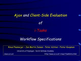 Ajax and Client-Side Evaluation   of  i-Tasks  Workflow Specifications