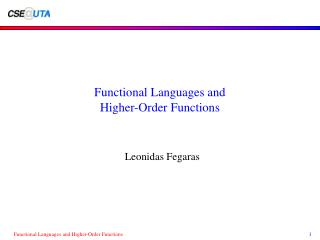 Functional Languages and Higher-Order Functions