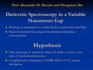 Dielectric Spectroscopy in a Variable Nanometer Gap