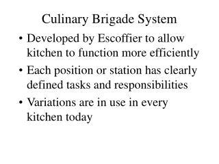 Culinary Brigade System