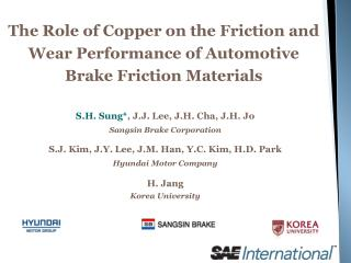The Role of Copper on the Friction and Wear Performance of Automotive Brake Friction Materials