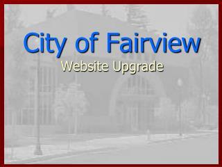 City of Fairview  Website Upgrade