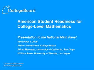 American Student Readiness for College-Level Mathematics