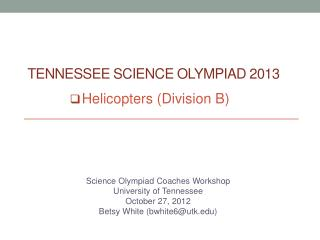 Tennessee Science Olympiad 2013
