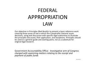 FEDERAL  APPROPRIATION LAW