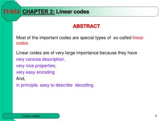 CHAPTER 2: Linear codes