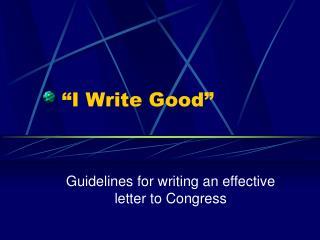 I Write Good
