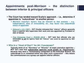 Appointments post-Morrison   the distinction between inferior  principal officers