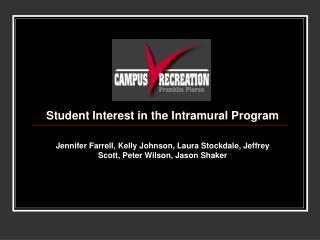 Student Interest in the Intramural Program  Jennifer Farrell, Kelly Johnson, Laura Stockdale, Jeffrey Scott, Peter Wilso