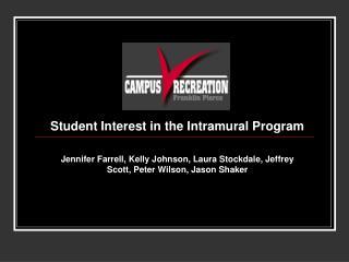 Student Interest in the Intramural Program  Jennifer Farrell, Kelly Johnson, Laura Stockdale, Jeffrey Scott, Peter Wilso