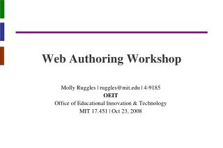 Web Authoring Workshop