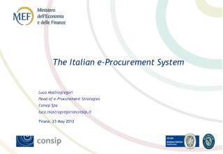 The Italian e-Procurement System