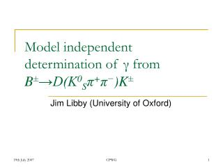 Model independent determination of  from B DK0Spp-K