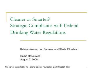 Cleaner or Smarter Strategic Compliance with Federal Drinking Water Regulations
