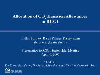 Allocation of CO2 Emission Allowances  in RGGI