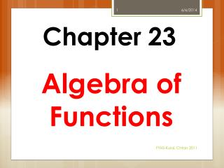 Algebra of Functions