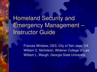 Homeland Security and Emergency Management    Instructor Guide