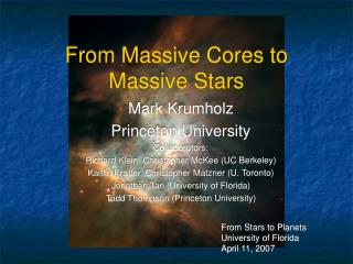From Massive Cores to Massive Stars