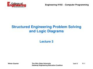 Structured Engineering Problem Solving and Logic Diagrams
