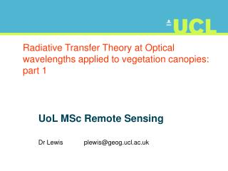 Radiative Transfer Theory at Optical wavelengths applied to vegetation canopies: part 1