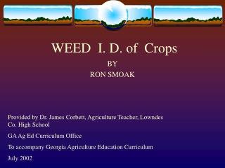 WEED  I. D. of  Crops
