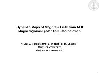 Synoptic Maps of Magnetic Field from MDI Magnetograms: polar field interpolation.