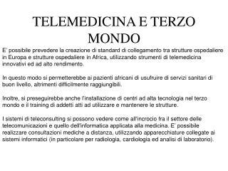TELEMEDICINA E TERZO MONDO