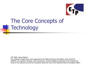 The Core Concepts of Technology