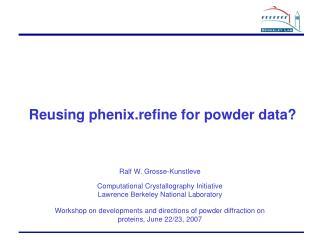 Reusing phenix.refine for powder data