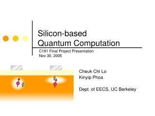 Silicon-based  Quantum Computation